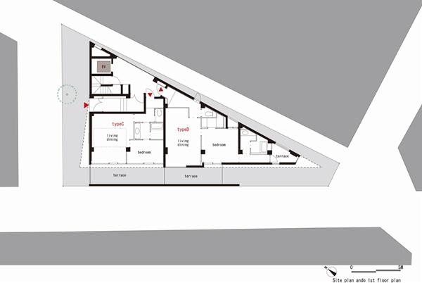 Constru o de pr dio de apartamentos em terreno triangular House plans for triangular lots
